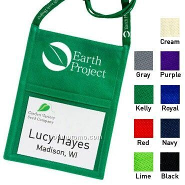 Poly Pro Eco Pouch Neck Wallet W/ Printable Lanyard - 1 Color