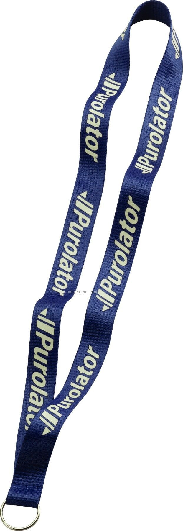 "3/4"" Imported Polyester Glow Imprint Lanyard W/ Sewn Split Ring"