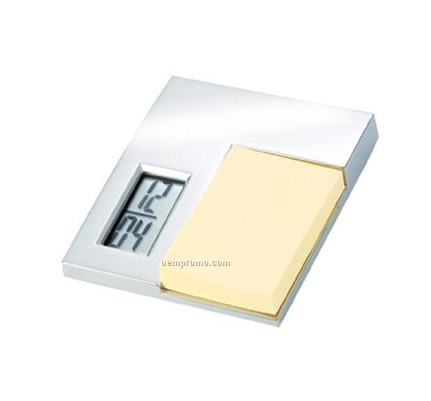 Bright Silver Lcd Desk Alarm Clock And Post-it Holder