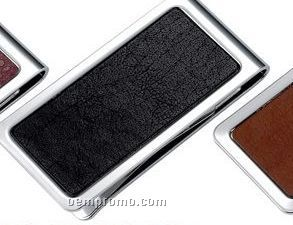Metal Chrome Plated Money Clip With Black Genuine Leather