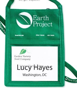 Poly Pro Eco Pouch Neck Wallet W/ Printable Lanyard - Blank