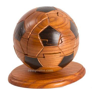 Unique Mahogany Soccer Ball Puzzle (Screened)