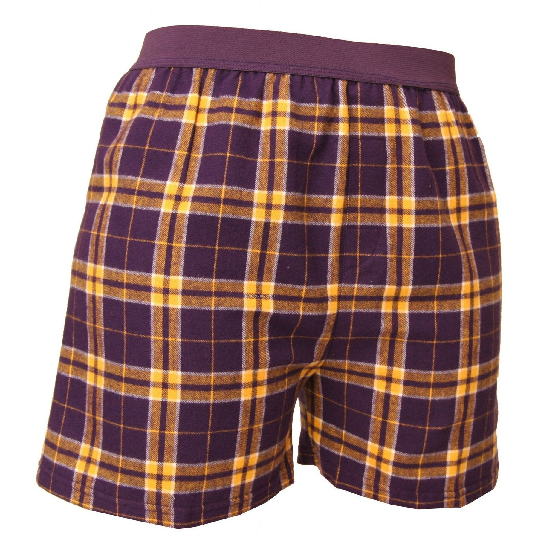 Adult Purple/Gold Plaid Classic Boxer Short