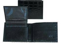 Black Italian Leather Slim Billfold W/ Id Case