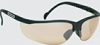 Wrap-around Safety Glasses W/ Rubber Nose Piece (Brown Lens/Black Frame)