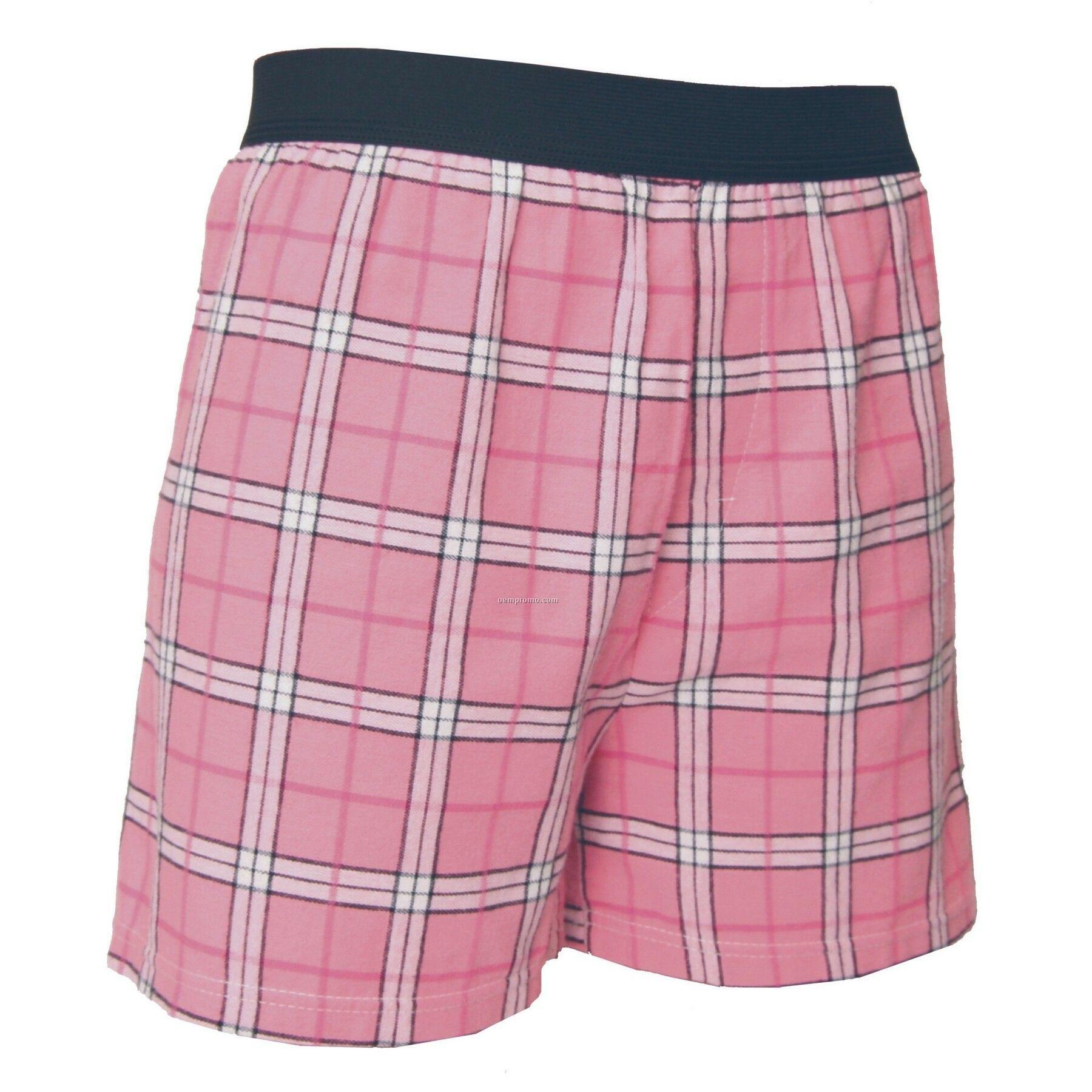 Adult Pink/Black Sparkle Plaid Classic Boxer Short