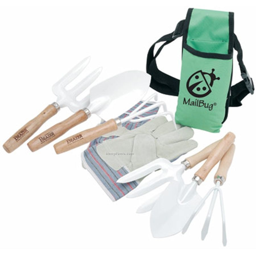 Ruff ready garden tool set with apron imprinted china for Gardening tools wholesale