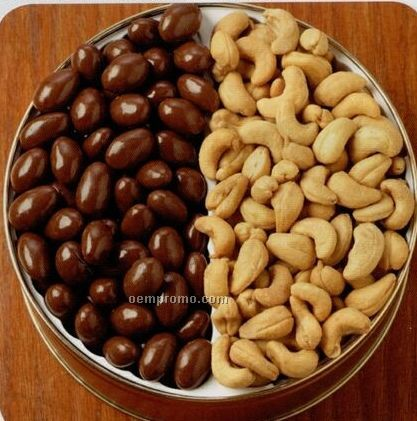 42 Oz. Chocolate Almonds/ Jumbo Cashews Designer Gift Tin