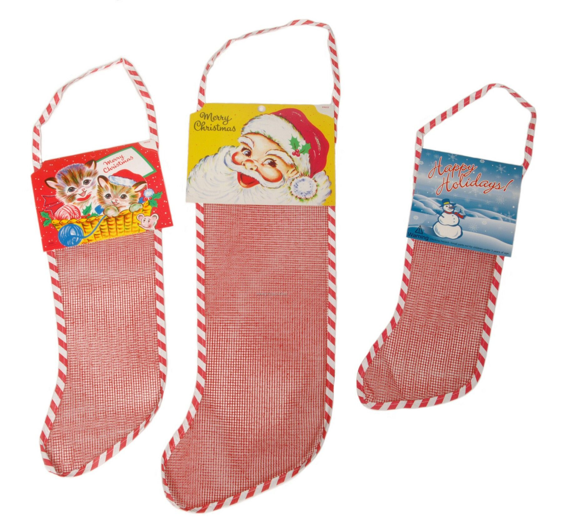 "8"" Empty Red Mesh Netted Christmas Stocking"