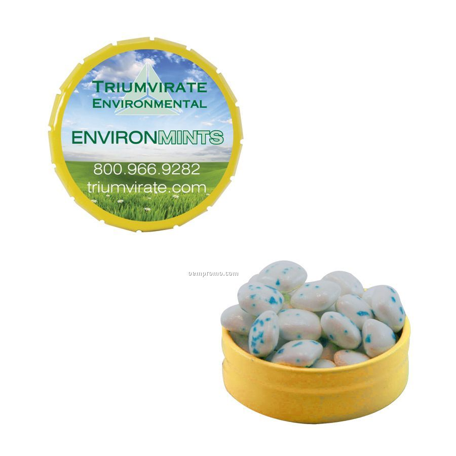 Small Yellow Snap-top Mint Tin Filled With Sugar Free Gum