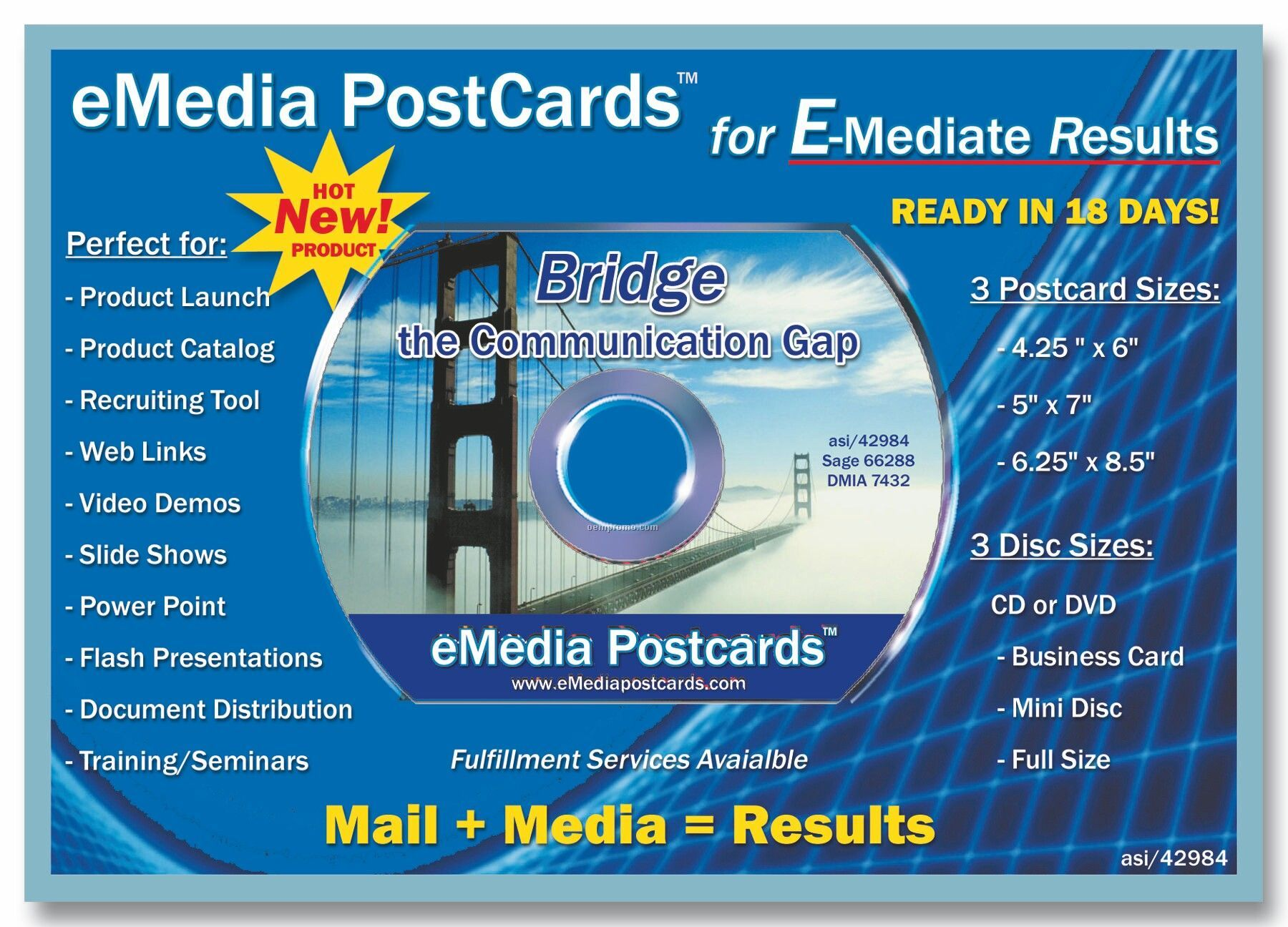 """Emedia Post Card, 6"""" X 9"""" With CD Business Card"""