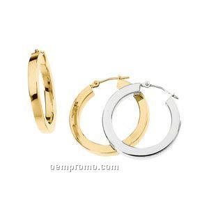 14ky 25mm Ladies' Square Tube Hoop Earring