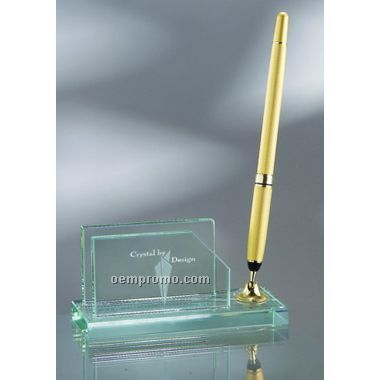 Business Card Holder W/ Gold Pen (Screened)