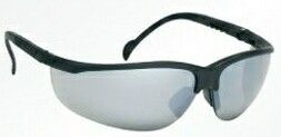 Wrap-around Safety Glasses W/ Rubber Nose Buds (Silver Mirror/Black Frame)