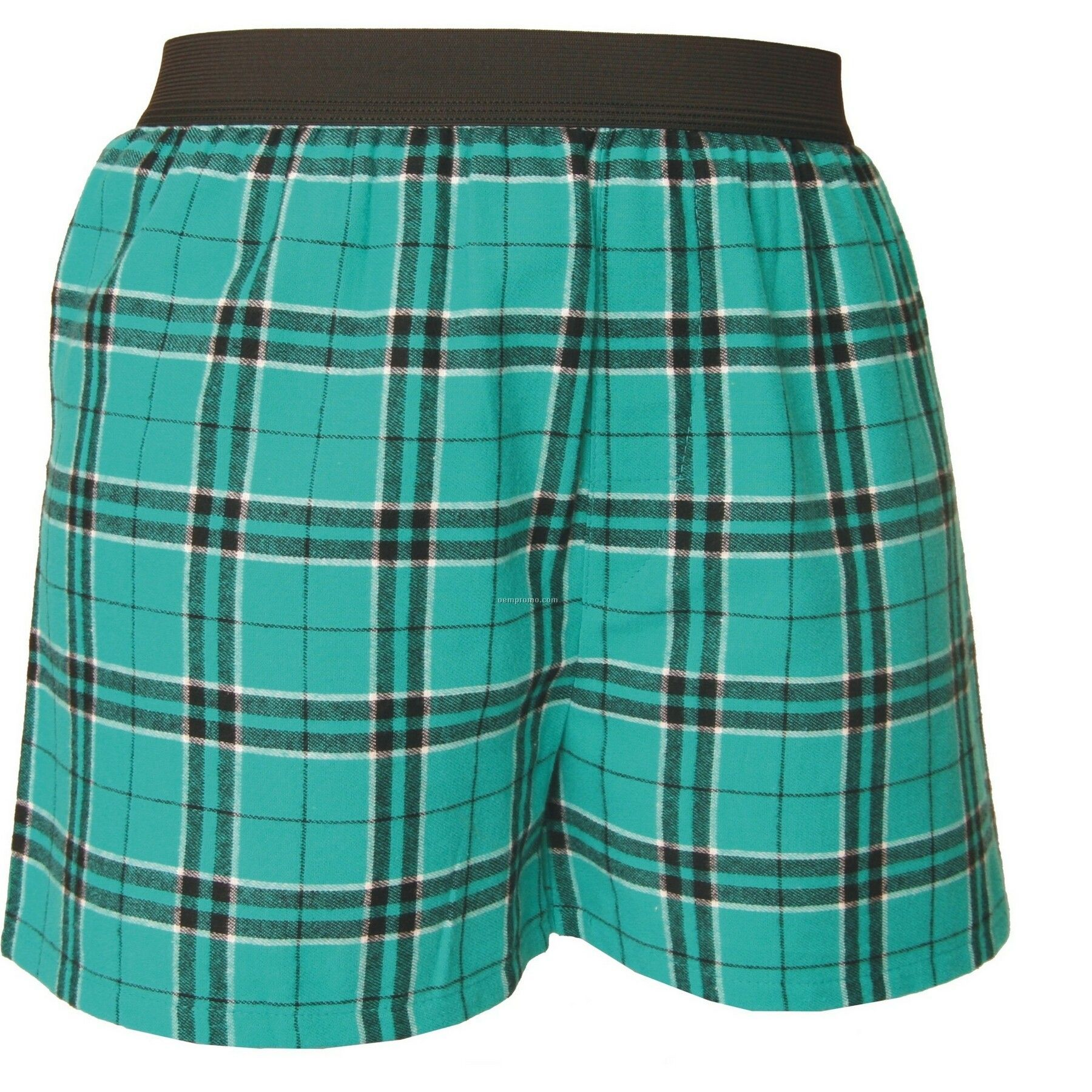 Adult Teal Green/Black Plaid Classic Boxer Short
