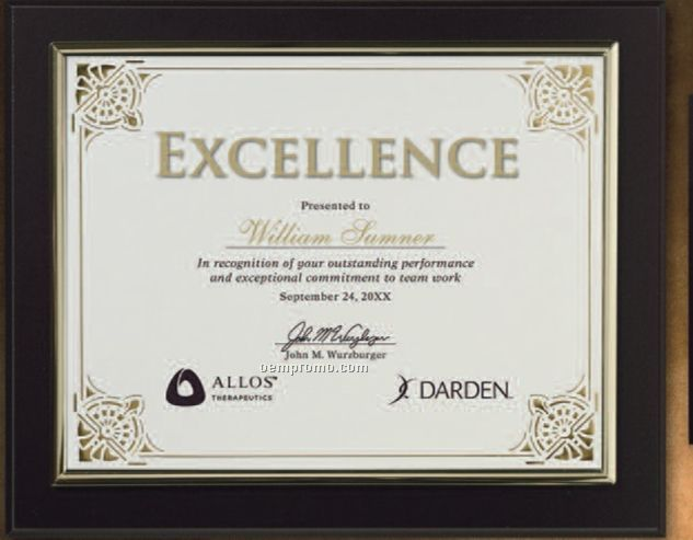 Certificate Gallery Black Finish Certificate Holder With Gold Trim