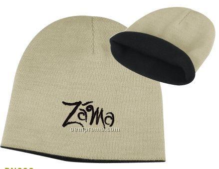 2-tone Knit Beanie Cap (One Size)