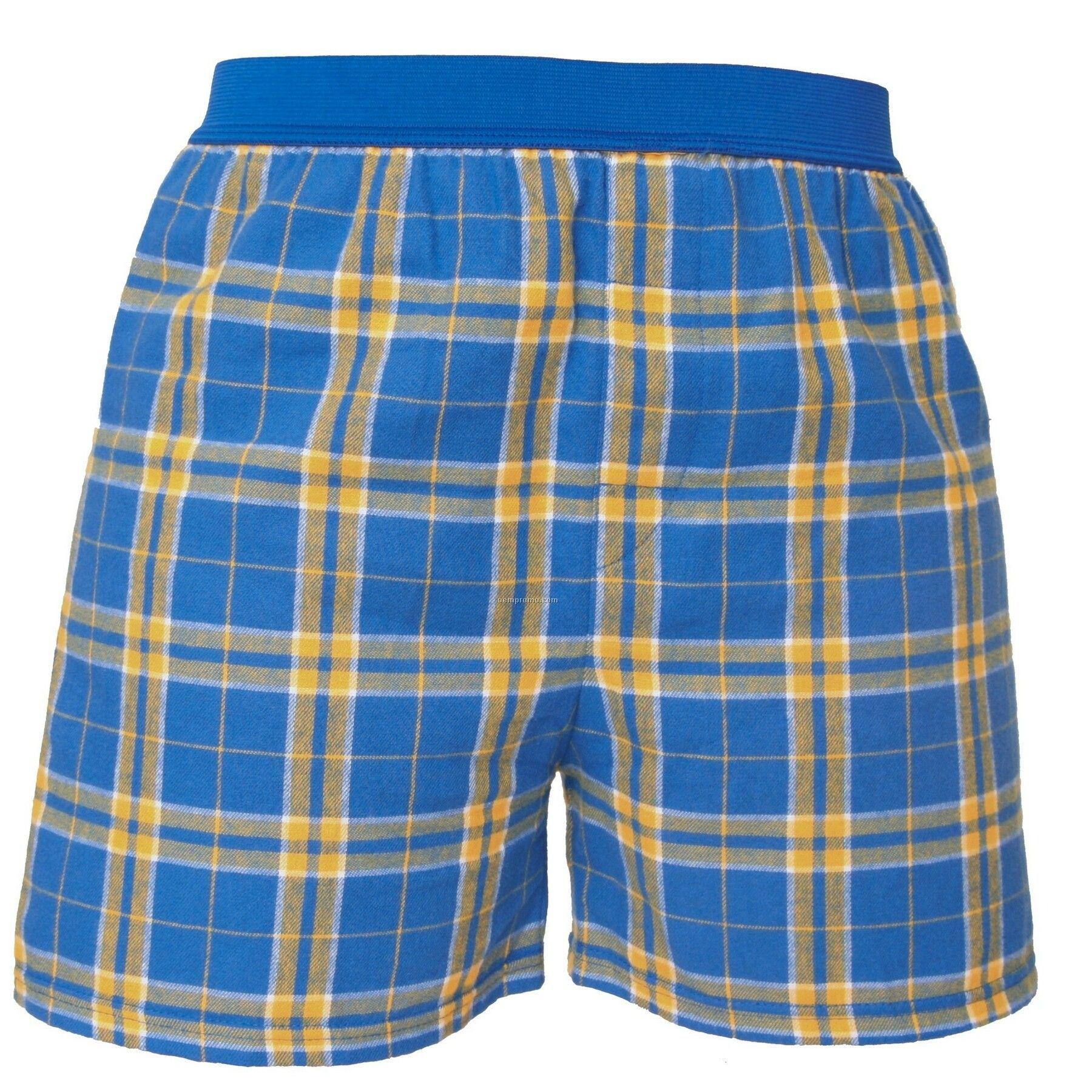 Adult Royal Blue/Gold Plaid Classic Boxer Short