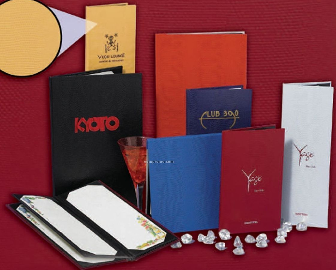 """Triple Booklet Lizard Embossed Menu (Holds Four 8-1/2""""X11"""" Inserts)"""