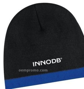 Banded Black Knit Beanie Cap (One Size)
