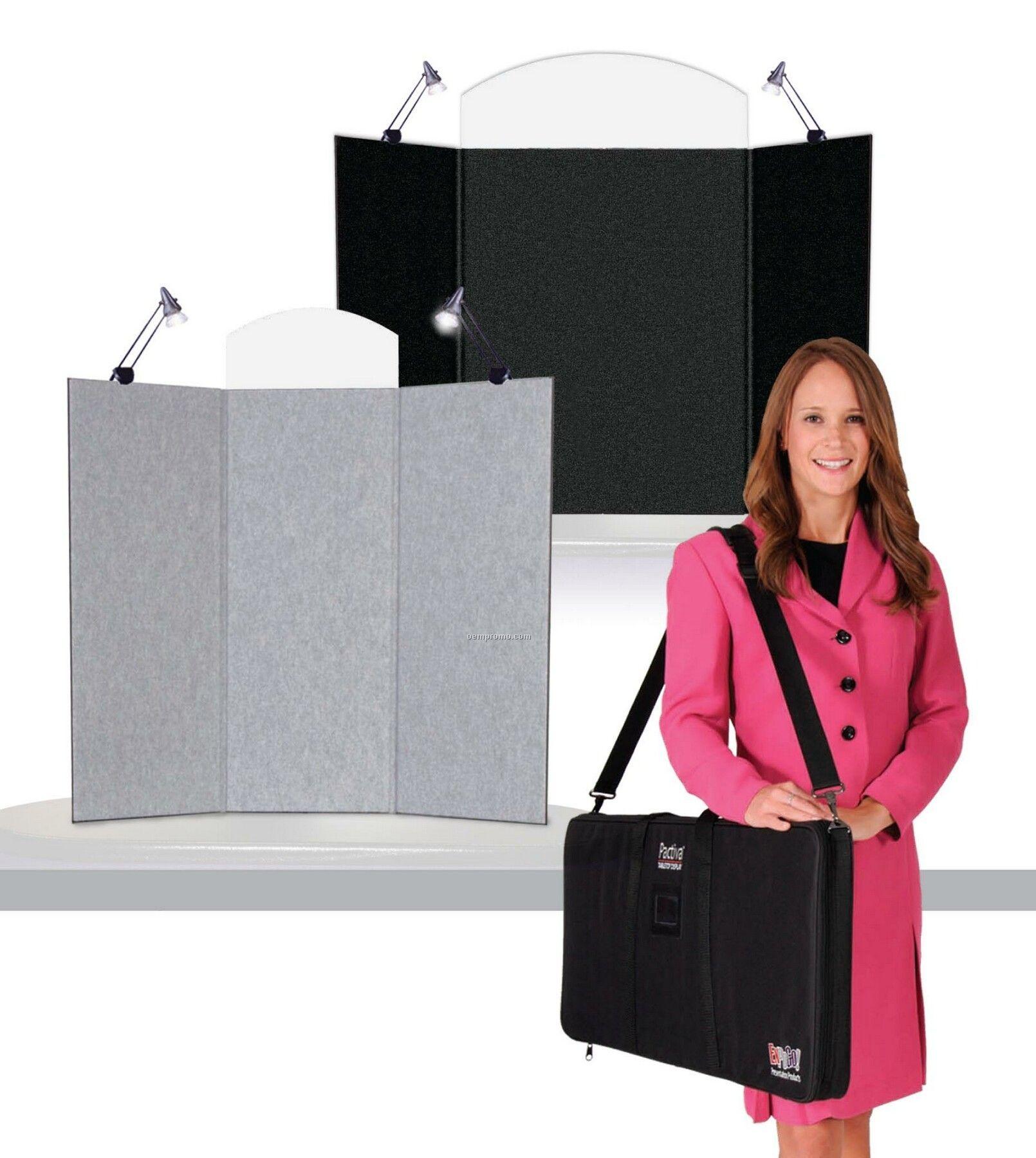 Pactiva 3 Panel Tabletop Display, Fabric Panels, Blank Header