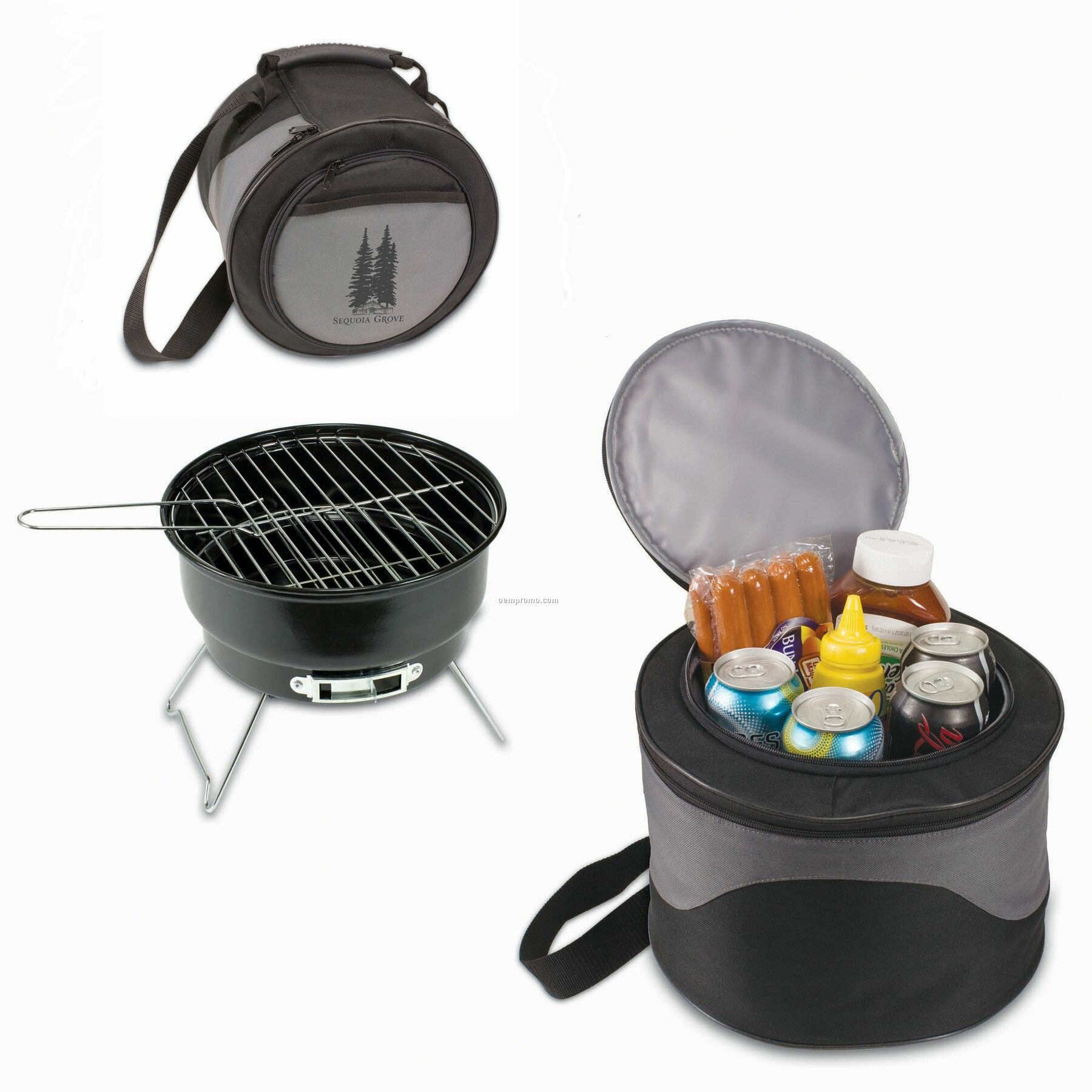 Caliente Round Portable Charcoal Bbq Grill W/ Cooler Tote Bag