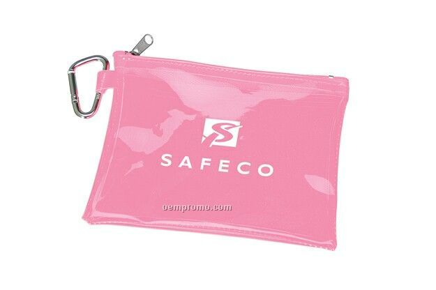 Large Empty Translucent Pouch With Carabiner