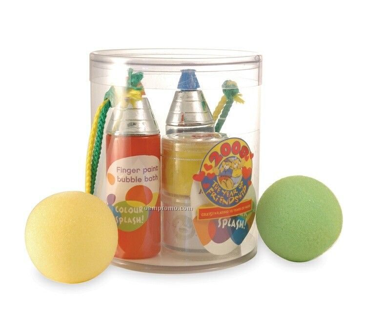 Ultimate Kid's Bath Experience Canister W/ Soaps & 2 Foam Balls