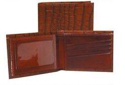 Cognac Italian Leather Slim Billfold Wallet W/Id Window