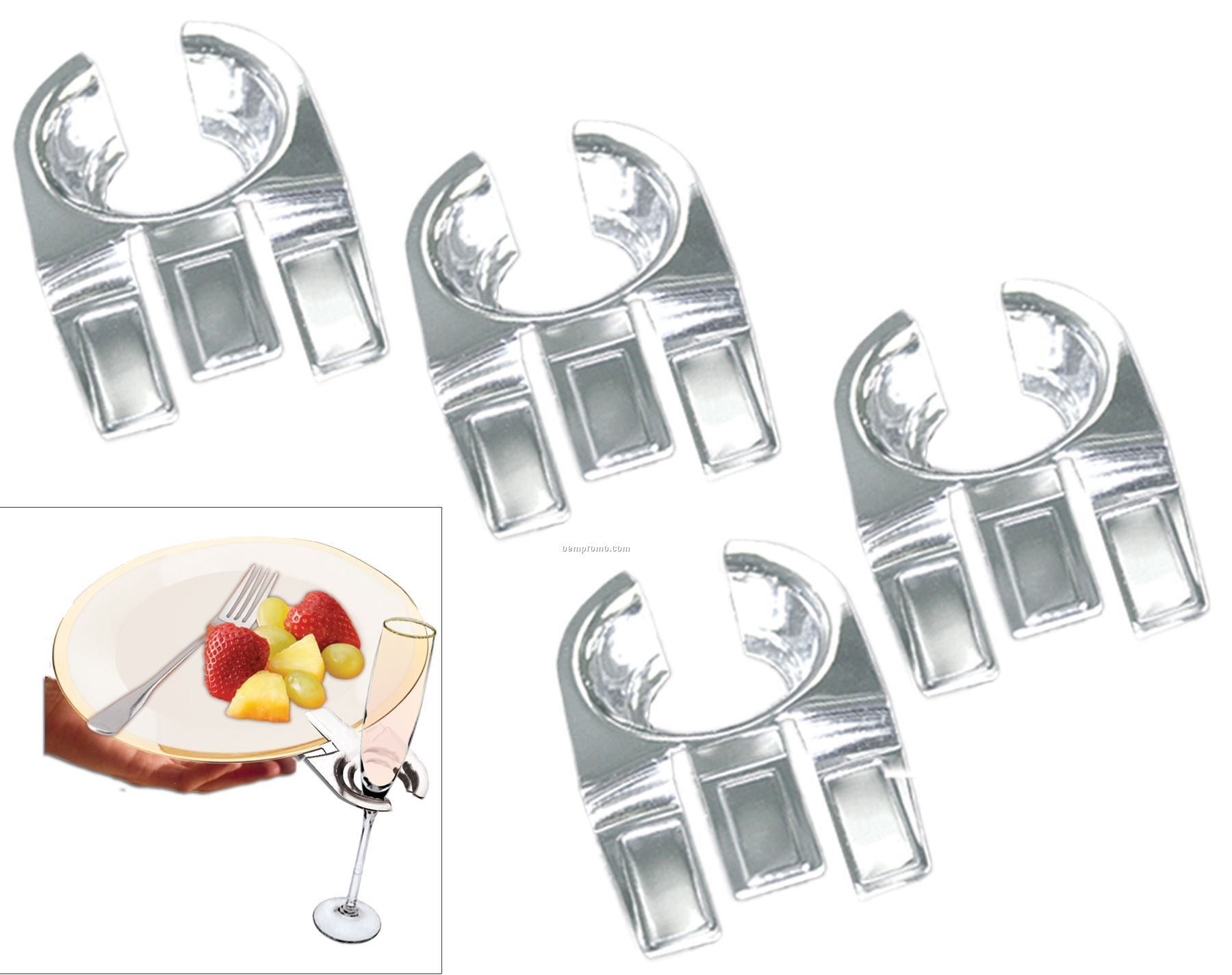 4-piece Drinking Glass Holder/Plate Clip Set