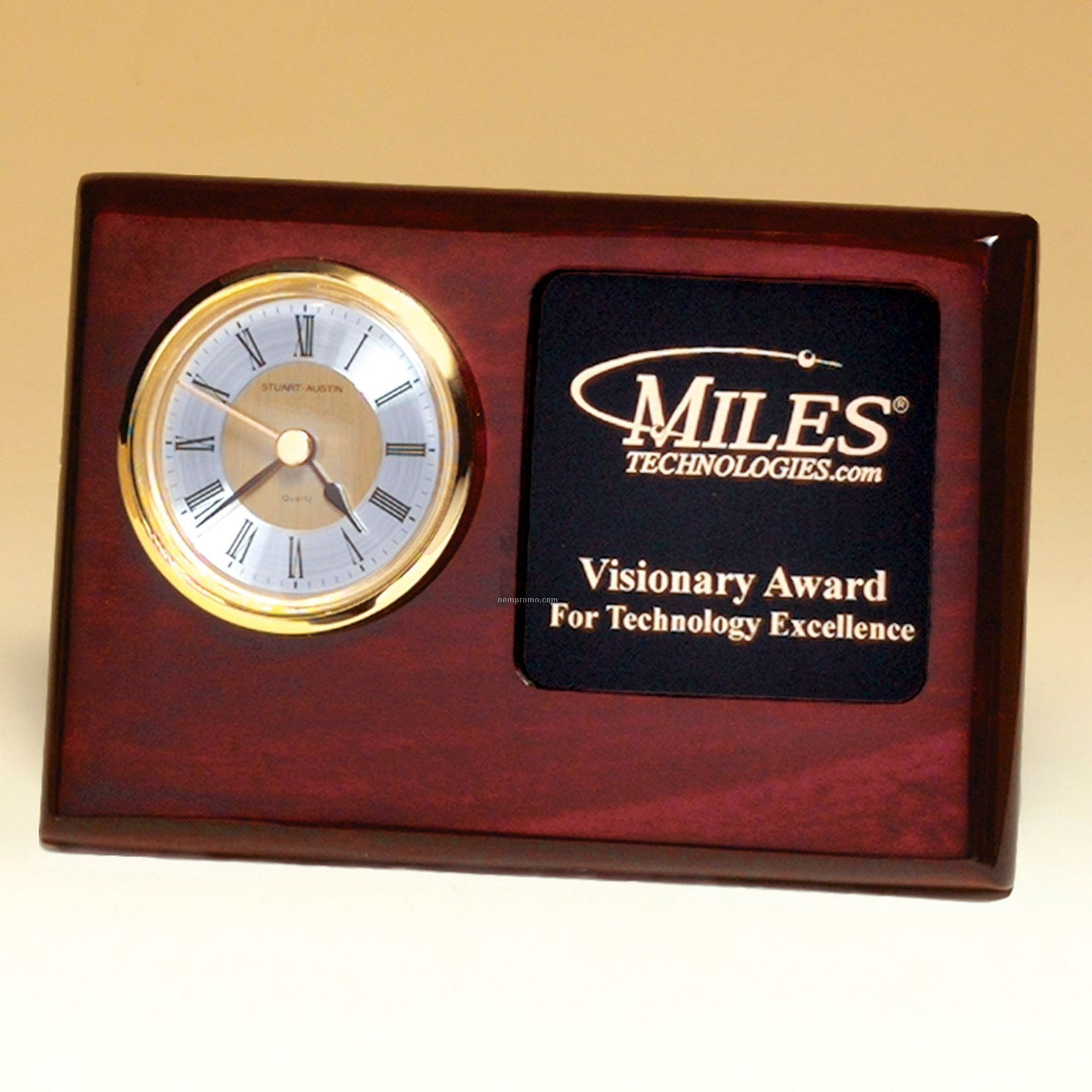 """Rosewood Piano Finish Desk Clock With 3"""" X 3"""" Photo Area"""