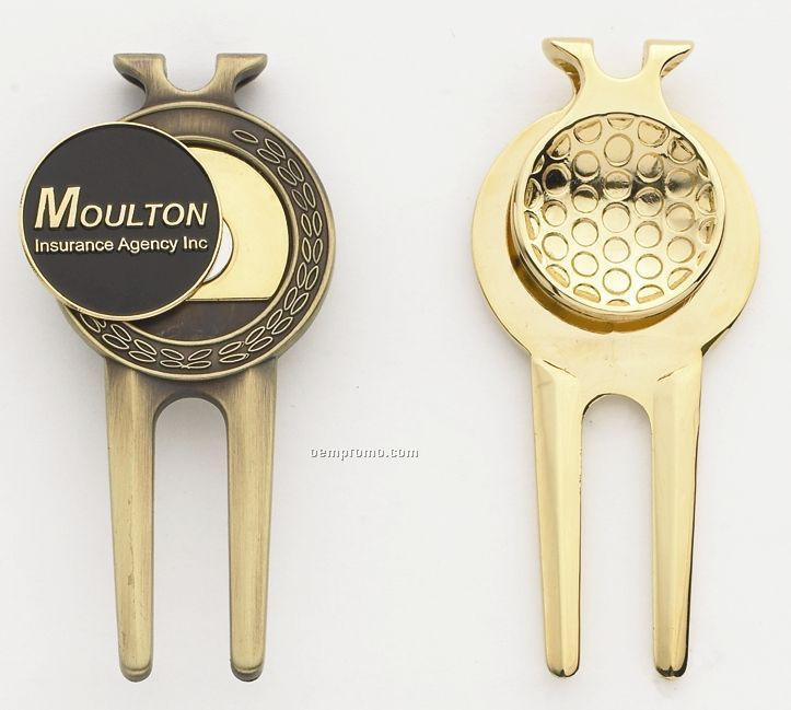 "Classic Divot Tool/ Money Clip With 1"" Ball Marker"