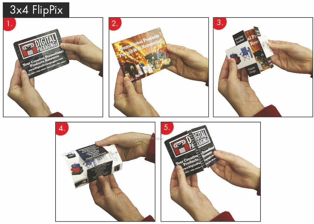 "Flip Pix 3"" X 4"" Multi Dimensional Promotional Piece"