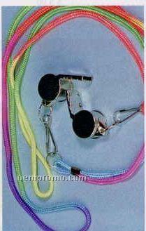 Metal Whistle W/ Rainbow Colored Rayon Cord