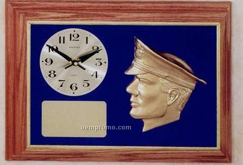 Police Specialty Plaque W/ Clock & Blue Background