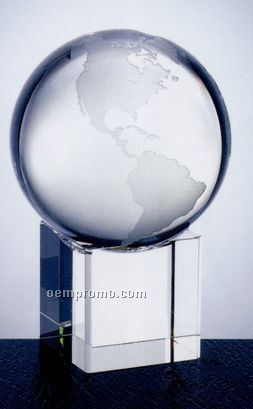 "Small Optical Crystal Globe Plain W/ Cube Base (3-5/8"")"