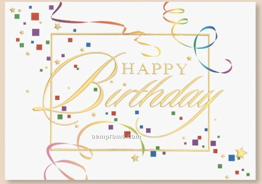 Streamers & Confetti Birthday Card W/ Gold Lined Envelope