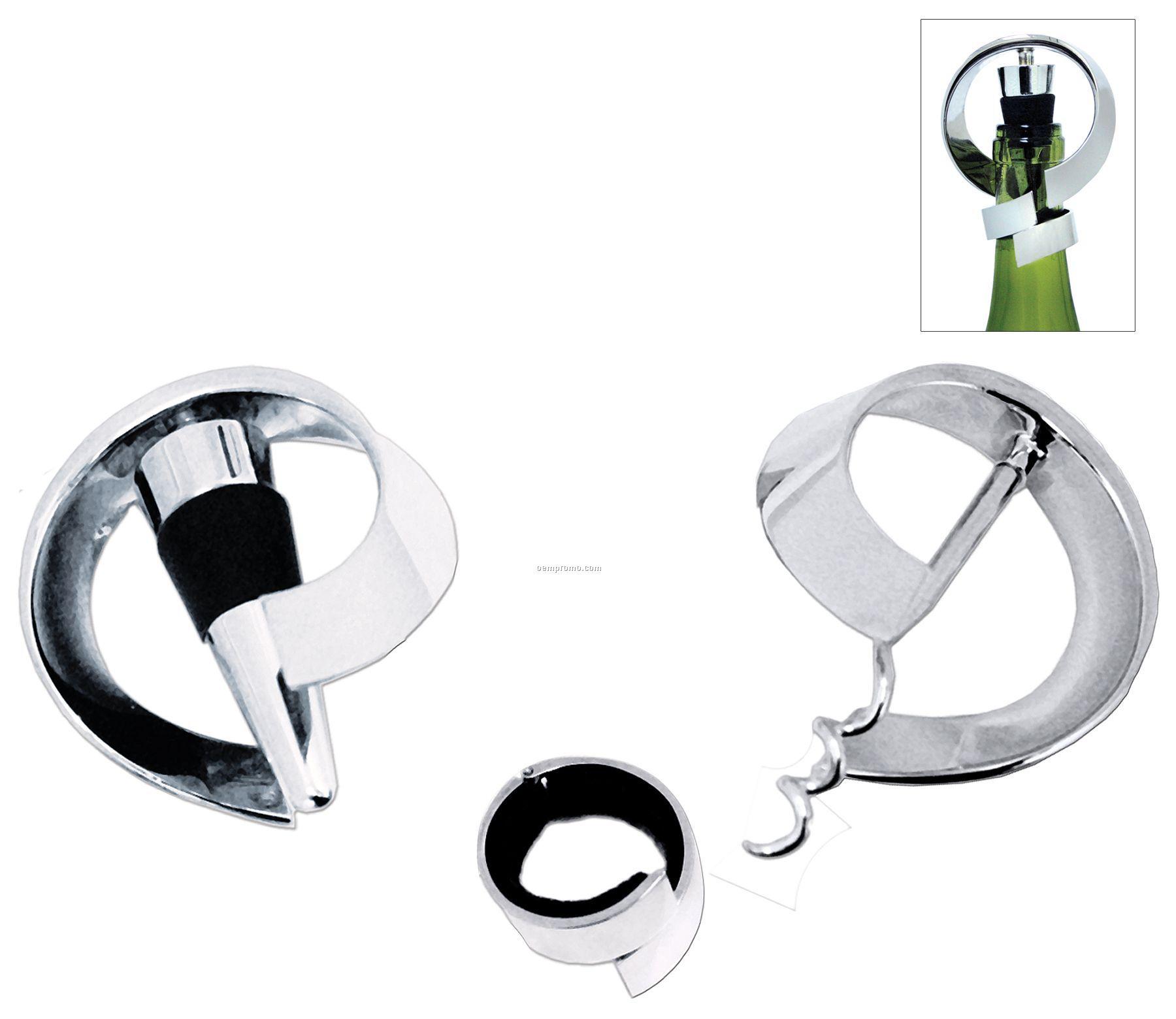Moebius 3-piece Wine Set W/ Bottle Opener/Stopper/Corkscrew