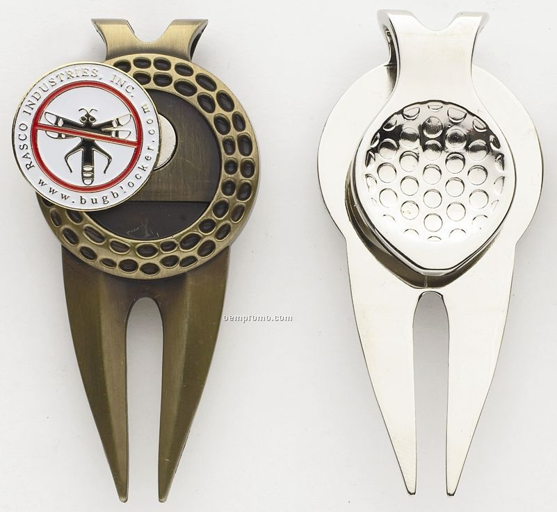 """Large Dimpled Divot Tool/ Money Clip With 1"""" Ball Marker"""