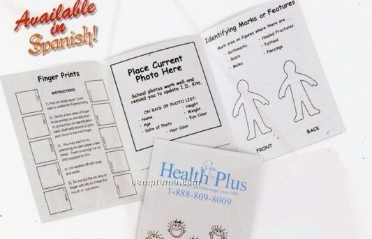 Kids Id Kit With Information Form & Finger Print Strip