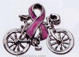 Medical Awareness Pin With Ribbon & Bicycle