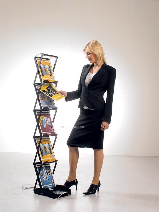 Swingup Portable Literature Stand With Deluxe Wheeled Case