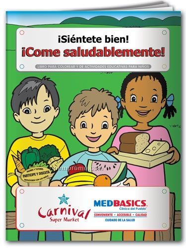 Spanish Action Pack Color Book W/Crayons & Sleeve - Feel Good! Eat Healthy!