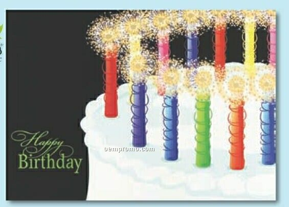 Sparkling Candles Birthday Card W/ Lined Envelope