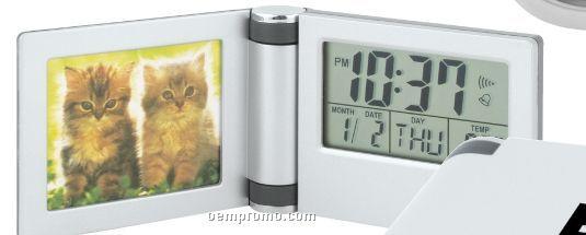 Aluminum Photo Travel Alarm Clock