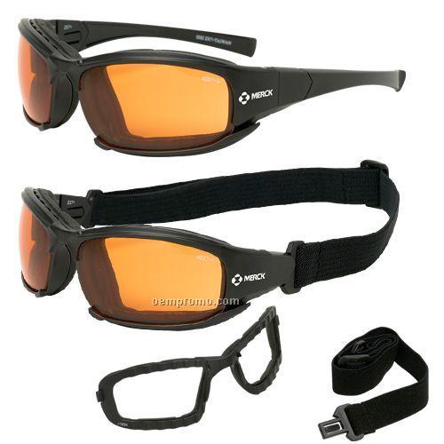 Orange safety goggles