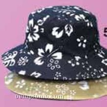 Cotton Print/Solid Reversible Bucket Hat W/Eyelets
