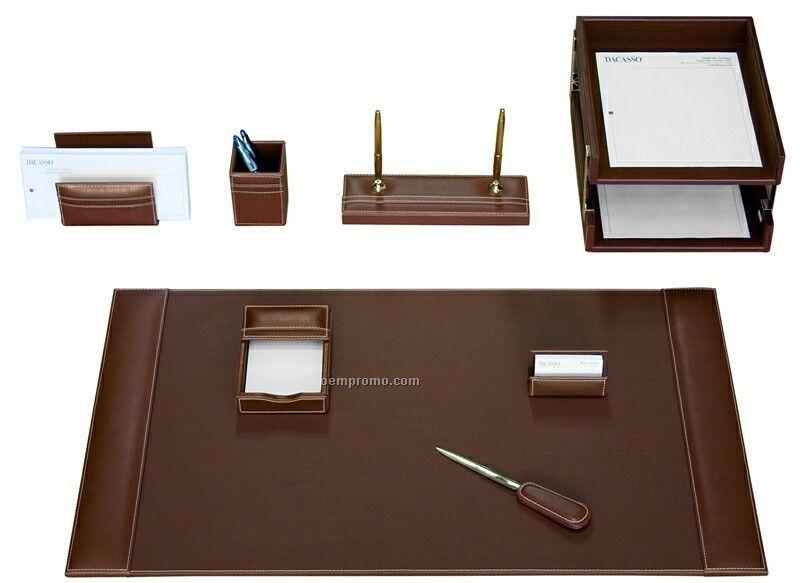 Rustic Black 10-piece Rustic Leather Desk Set