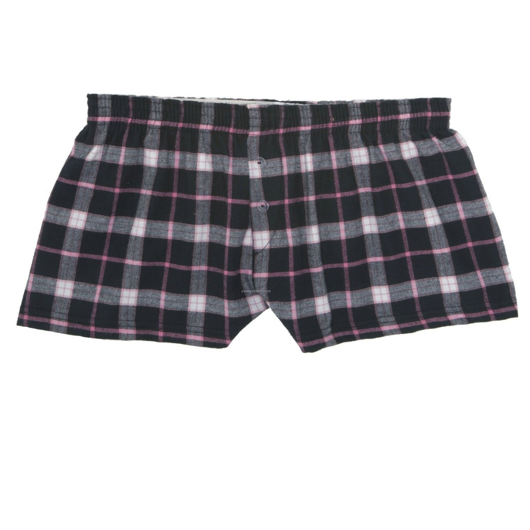 Youth Black/ Pink Flannel Bitty Boxer Short With False Fly