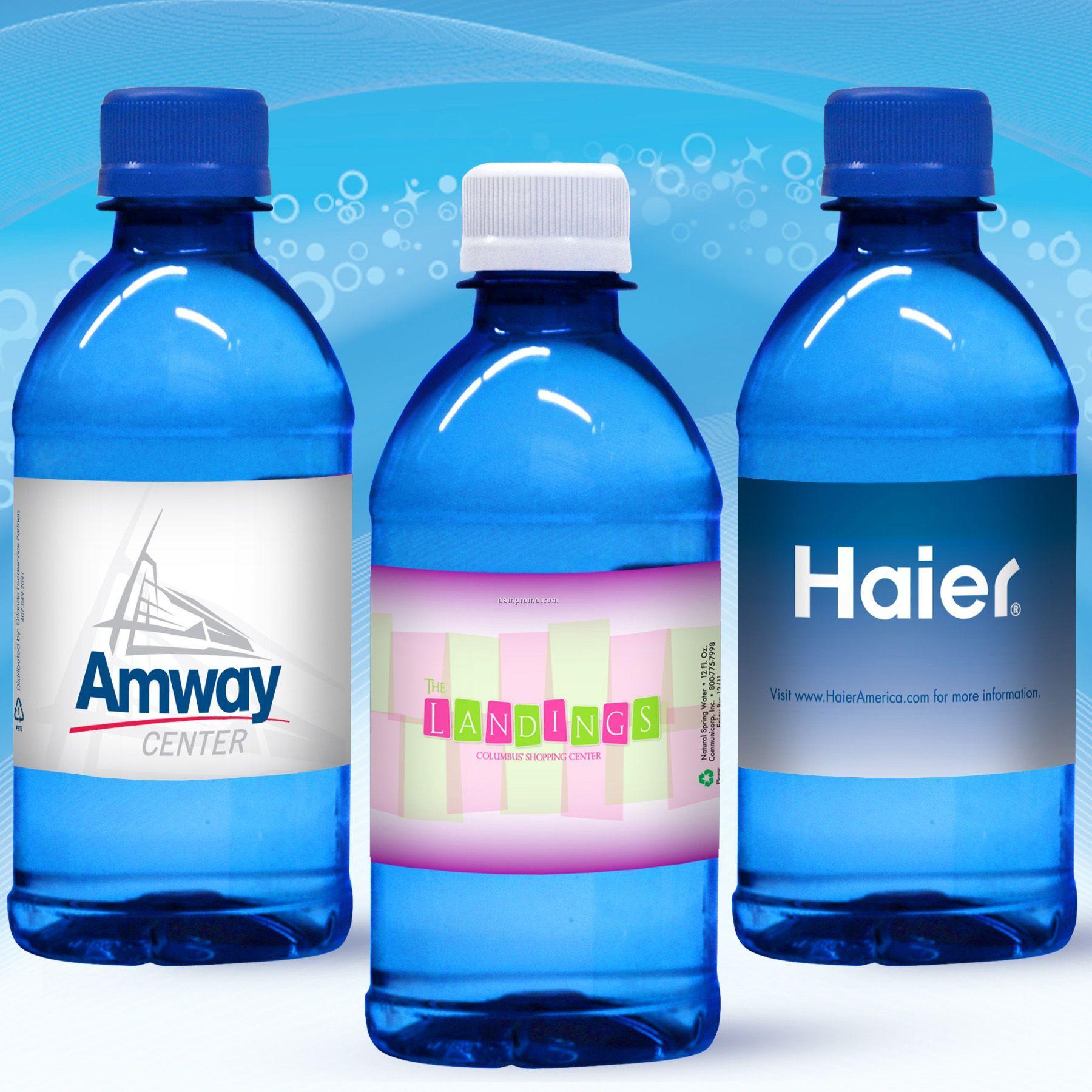 12 Oz. Custom Label Spring Water W/Flat Cap - Blue Tinted Bottle